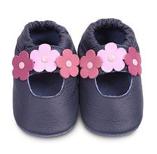 Blue classic girls soft soled leather baby shoes