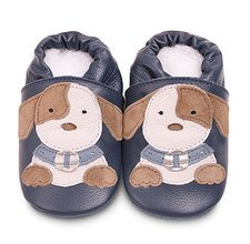 Blue doggie classic boys soft sole leather baby shoes
