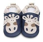Blue giraffe classic boys soft soled leather baby shoes