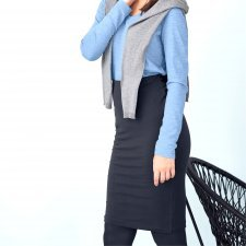 Blue sheath skirt in organic cotton
