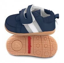 Blue/silver toddler shoes with flexi sole in rubber