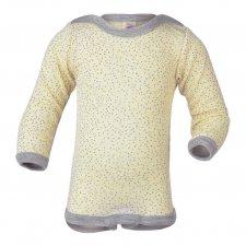 Body manica lunga con stampa in lana biologica e seta