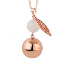 Bola antiossidante oro rosa con foglia e perlina per le mamme in attesa