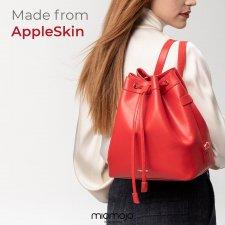 Borsa a secchiello Prima Linea Giorgia rosso in pelle di mela Vegan