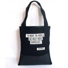 Borsa Shopper Equo Solidale in cotone TO MOVE THE WORLD nera