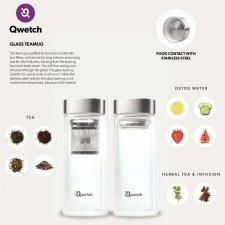 Bottiglia per té e infusi in vetro con 2 filtri