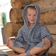 Boy striped bathrobe in organic cotton