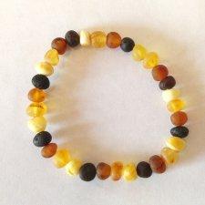 Bracciale d'ambra elastico adulto multicolore grezzo