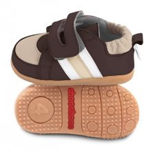 Brown/beige toddler shoes with flexi sole in rubber
