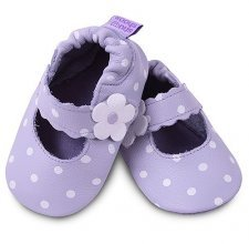 Lilac with dots classic girls soft soled leather baby shoes