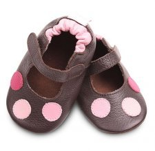 Brown with pink dots classic girls soft soled leather baby shoes