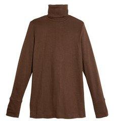 Brown turtleneck woman shirt in organic cotton