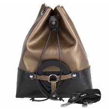 Bronze Bucket bag in vegetable faux-leather and recycled pvc