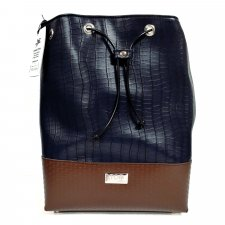 Navy Bucket bag in vegetable faux-leather and recycled pvc