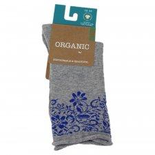 Calze da donna Blooming Lace grigio/blu in cotone biologico