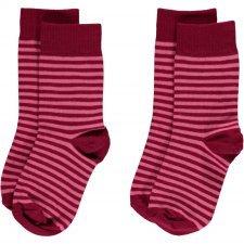 Calze righe rosa in cotone bio - 2 pezzi