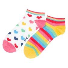 Calze Sneaker Rainbow Heart 2 paia da donna in cotone biologico