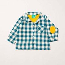 Camicia a scacchi blu per bambino in flanella di cotone biologico