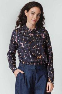 Camicia ASUNE AUTUMN LEAVES da donna in Cotone Biologico