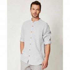 Camicia Coreana a righe in canapa