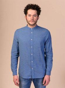Camicia coreana AMIT chambray da uomo in Cotone Biologico Equosolidale
