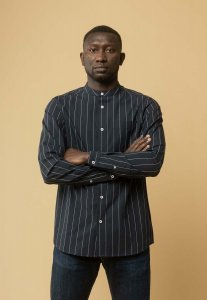 Camicia coreana AMIT Fine Lines da uomo in Cotone Biologico Equosolidale