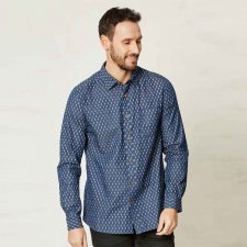 Camicia fantasia blu in cotone biologico