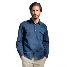 Camicia manica lunga lino e cotone biologico blu