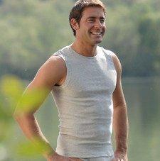 Canottiera uomo spalla larga grigia cotone biologico costine