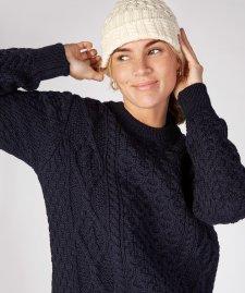 Cappello Aran a maglia nido d'ape e trecce in pura lana