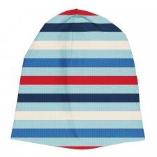 Cappello Cuffietta Righe Azzurre in cotone biologico