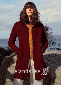 Cappotto a maglia Aranmore collo alto da donna in pura lana
