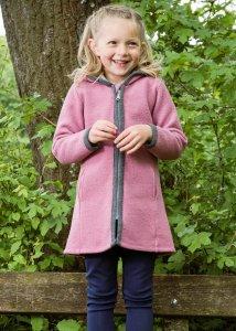 Cappotto Marlene rosa per bambine in lana cotta biologica