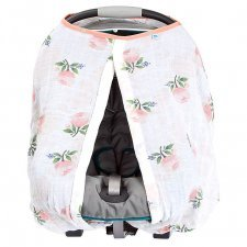 Car seat canopy in cotton muslin Watercolor Rose