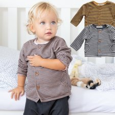 Cardigan Baby a righe in Bamboo organico
