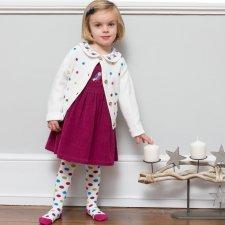 Cardigan bianco bambina in cotone biologico con pois