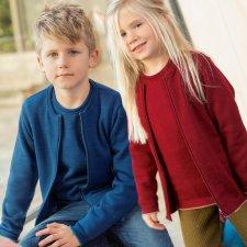 Cardigan Disana per bambini con zip in lana merino biologica
