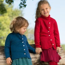 Cardigan per bambini in lana biologica e seta