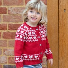 Cardigan in organic cotton red with Nordic heart
