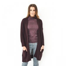 Cardigan lungo donna in lana merino biologica