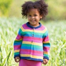Cardigan per bambina Arcobaleno in cotone biologico