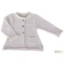Cardigan bianco Edda Popolini in pura lana merino