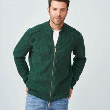 Giacca a maglia Leo da uomo con zip in Lana biologica