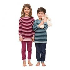 Children striped pyjamas in organic cotton terry