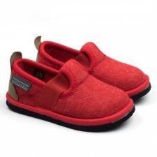 Children slipper Albus Red in felted wool