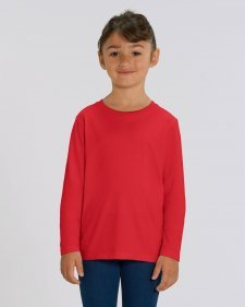 Children unisex long sleeve shirt in organic cotton Red