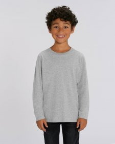 Children unisex long sleeve shirt in organic cotton Grey