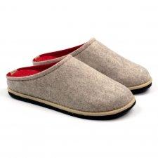 Ciabatta Easy Bicolore Beige-Rosso in feltro di lana