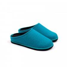 Ciabatta Easy Bicolore Blu Fluo-Antracite in feltro di lana