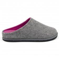 Ciabatta Easy Bicolore Grigio-Fuxia in feltro di lana